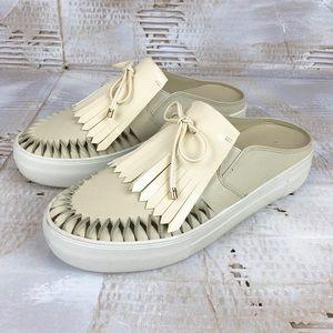 J Slides Amora fringe loafer slide crem 7.5